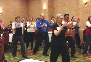 Annie Bower demonstrates CVAA's Tai Chi for Arthritis falls prevention program at a workshop in Burlington