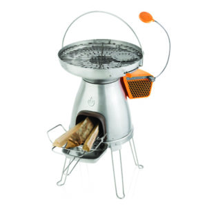 The BaseCamp Stove uses small pieces of wood or branches for fuel, reduces the smoke, generates electricity and even comes with its own light so you can see what you're cooking at night (Courtesy Photo)