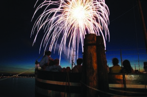 Fireworks light up the sky above the schooner Lois McClure docked at the Burlington waterfront. (Contributed photo)